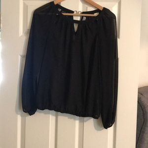 Sheer black long sleeve blouse